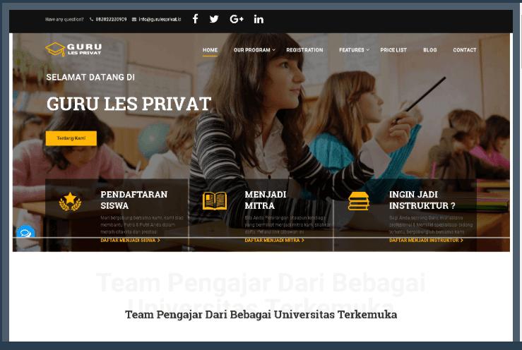 Website Les Privat Murah Berkualitas Gurulesprivat.id