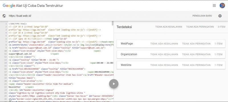 Hasil Uji Struktur Data Google