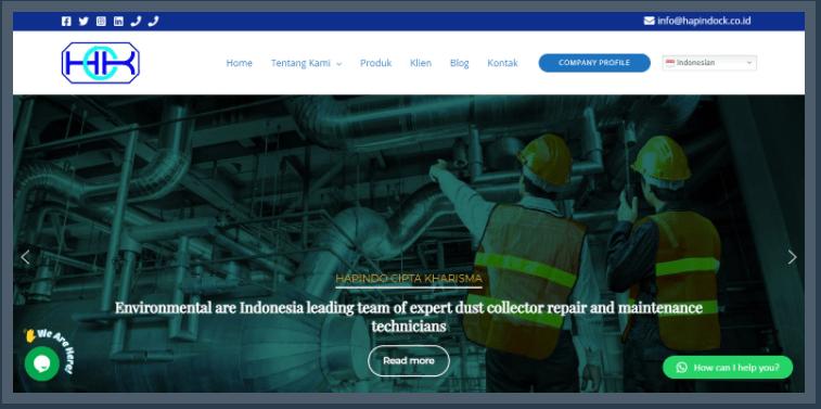 Website Company Profile PT Hapindo Cipta Kharisma (Hapindock.co.id)